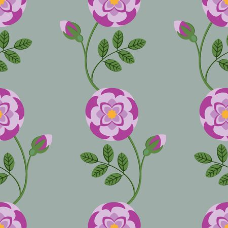 buds: Pink roses and buds seamless pattern