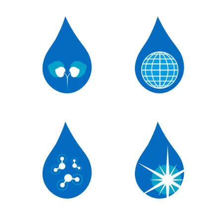 clean water: Four drop symbols set Illustration