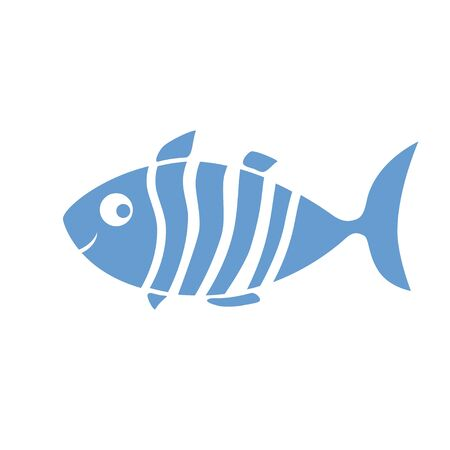 blue fish: Blue and white striped smiling fish drawing Illustration