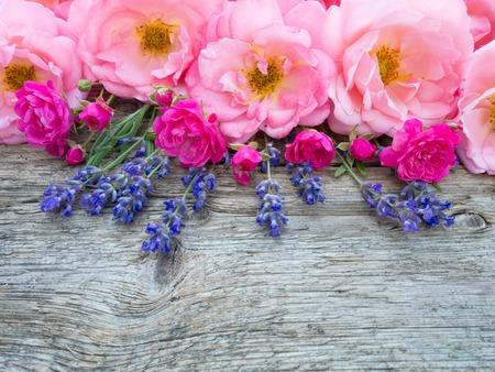 violeta: Rosa rosas rizado abiertas y lavanda Provenza, en la antigua junta de madera desgastada Foto de archivo