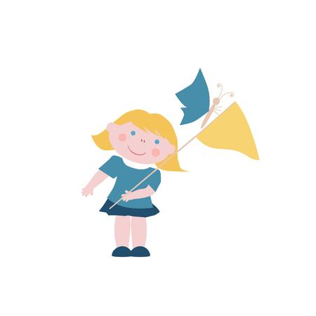 blond: Blond little girl with butterfly net