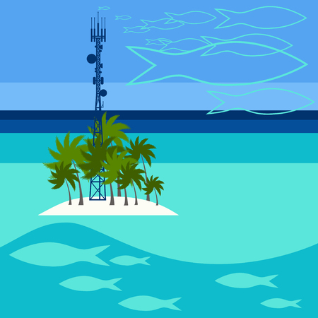telephone mast: Mobile tower transmits dreams about fishes from Maldives Illustration