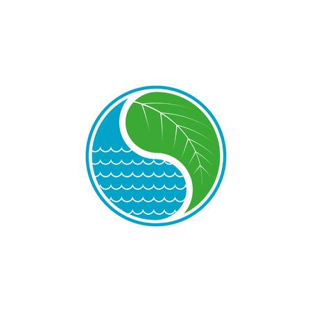 葉と水のドロップ エコ概念  イラスト・ベクター素材