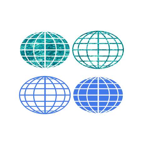 Four blue and water texture globe symbols