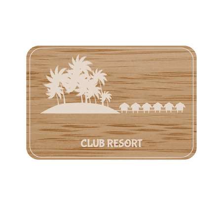 holiday villa: Resort board on the bamboo background