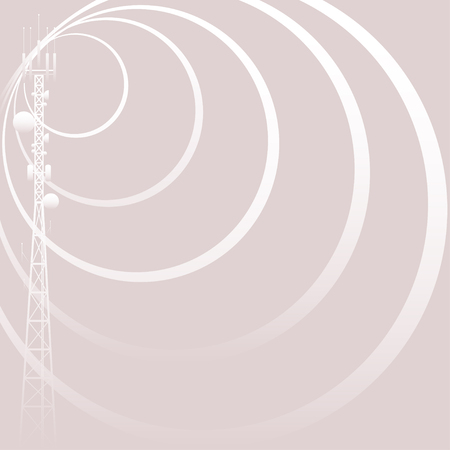 radio beams: Mobile tower gray background Illustration