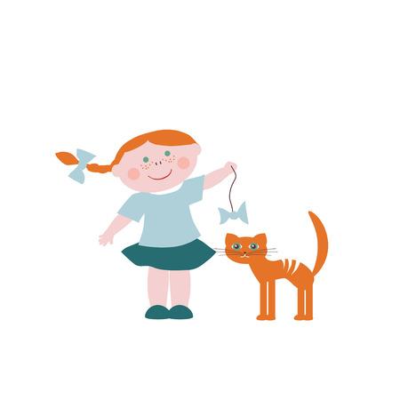 teases: Little girl teases the cat