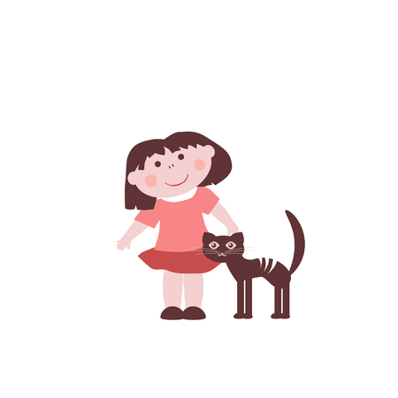 fondle: Little girl with dark cat Illustration