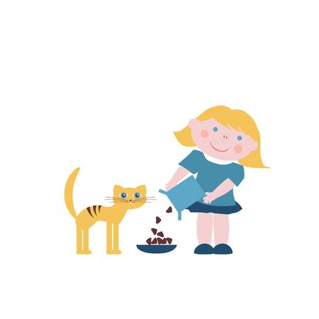 feeds: Little girl feeds the cat