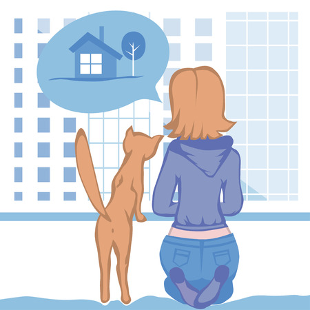 country house: Young woman and a cat sitting by the window, look at the megapolis and the dream of a country house