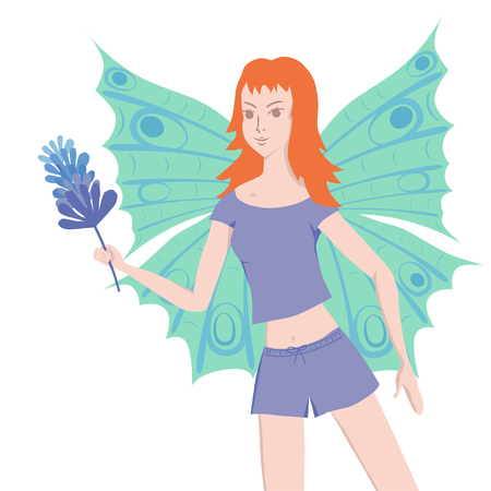 enthusiasm: Young redhead butterfly lady is full of enthusiasm to do the cleaning with duster Illustration