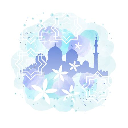 eastern spirituality: Mosque silhouette and arabian patterns watercolor imitation Illustration