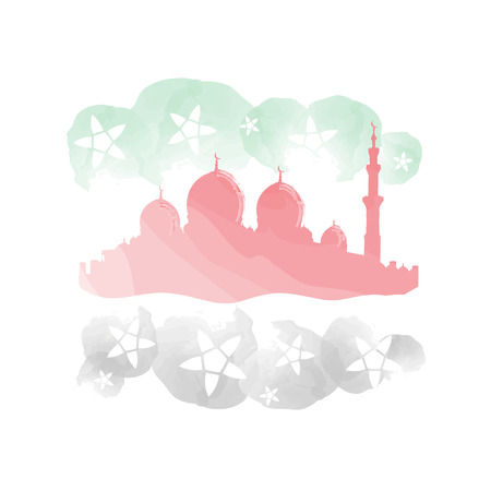 eastern spirituality: Mosque watercolor imitation with UAE flag colors