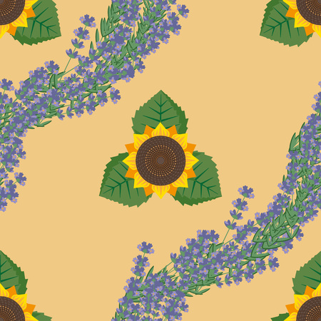 provence: Provence summer: sunflowers and lavender seamless pattern