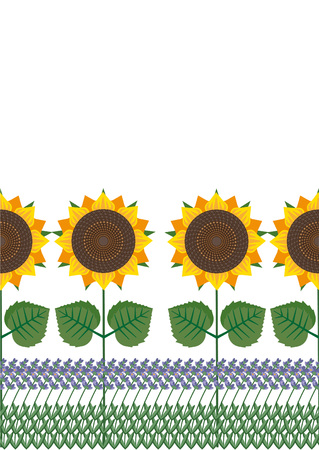 provence: Provence: sunflowers and lavender horizontal seamless pattern