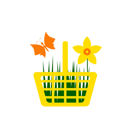 daffodil: Yellow shopping cart with daffodil flower and butterfly Illustration