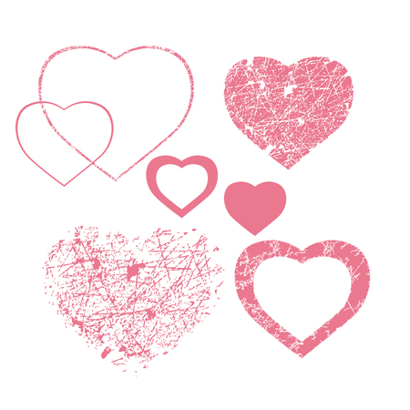 san valentin: Pink hearts with scratches collection for san valentin gifts cards