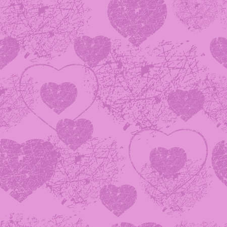 valentin day: Pink hearts with scratches san valentin day seamless pattern