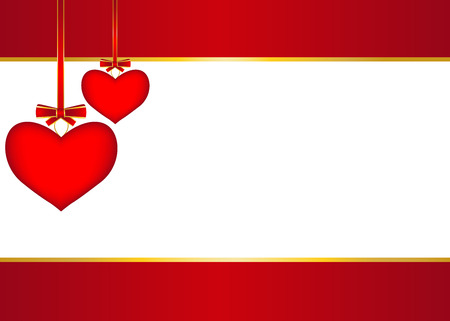 st valentin: Red background with two hanging hearts with bows