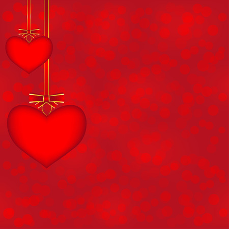 st valentin: Two hanging hearts on the bokeh background