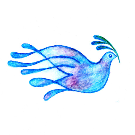 Dove with olive branch peace symbol watercolor pencils drawing 스톡 콘텐츠