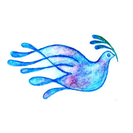 Paloma con el dibujo rama de olivo, símbolo de paz lápices de acuarela Foto de archivo - 48467076