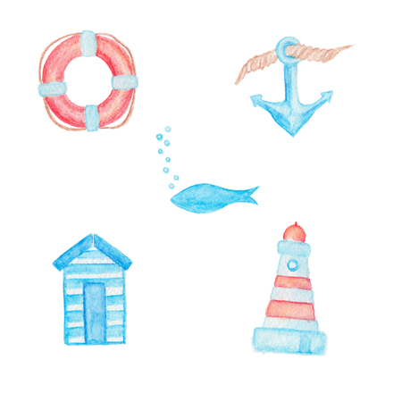 beach animals: Red lifebuoy, anchor with rope, blue fish with bubbles, striped beach changing room and lighthouse  watercolor pencils illustrations isolated on white