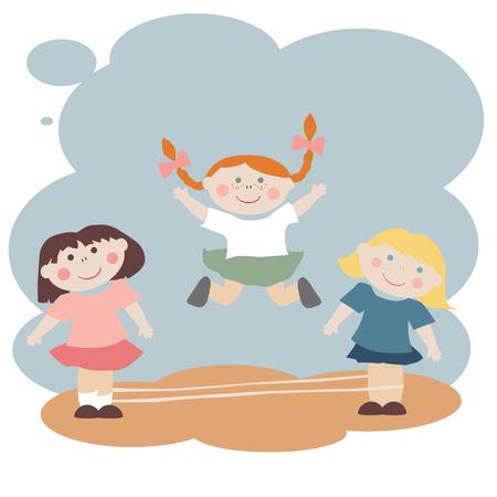 elastic: Three pretty little girls play elastics game