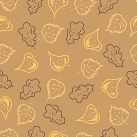 linden: Fall colored oak birch and  linden leaves seamless pattern