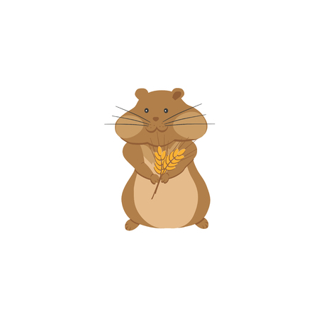cute hamster: Cute hamster with bouquet of wheat ears Illustration