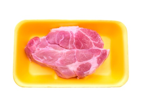 prepack: Pork collar butt in the yellow tray isolated on white Stock Photo