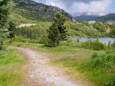 walking path: Walking path along the lake in the mountains