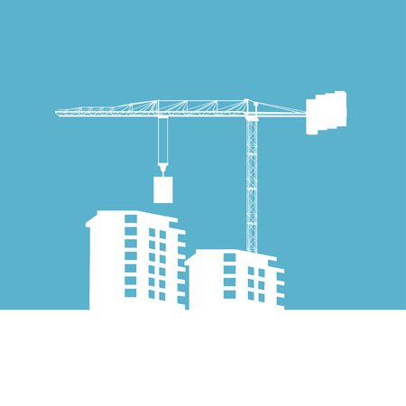 building site: Building construction site and crane white shiluette on the blue background Illustration