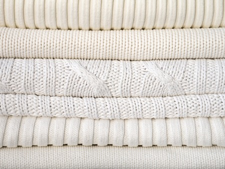 sweats: White winter warm clothes with different textures