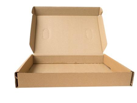 forwarding: Open cardboard box isolated on white