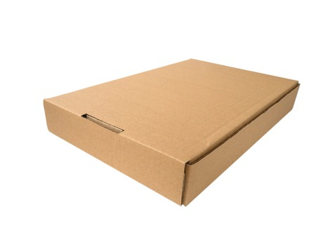carboard box: Flat cardboard box isolated on white