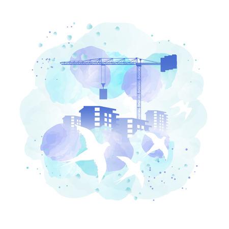 building site: Building construction site, crane flock of birds watercolor painting imitation Illustration