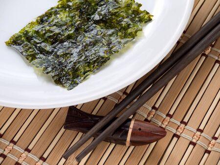 nori: Nori seaweed on the white plate