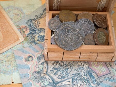 hoard: The hoard of old coins in a wooden box