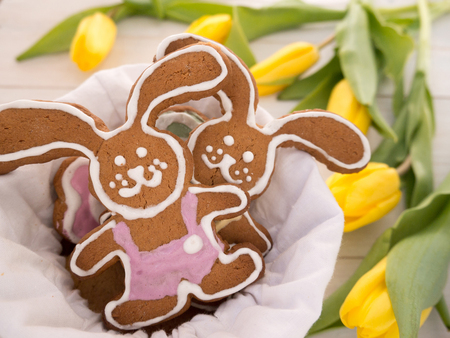 white linen: Easter Bunny cookies in the white linen bag