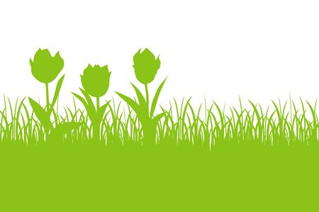 tulips in green grass: Floral spring background with tulips and grass silhouette Illustration