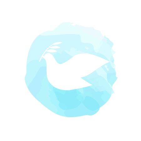 Peace symbol - dove with olive branch white silhouette on the blue watercolor spot imitation