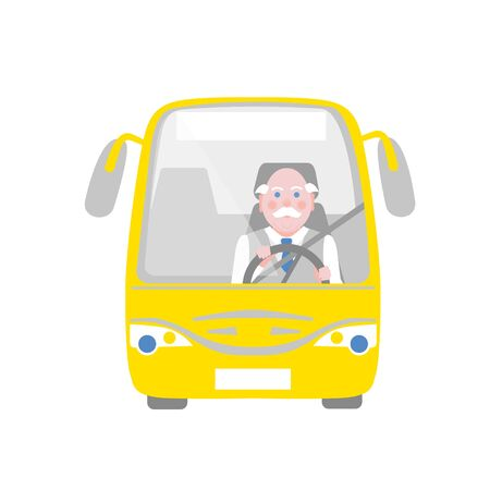 reputable: Elderly silver-haired moustached driver in the yellow bus
