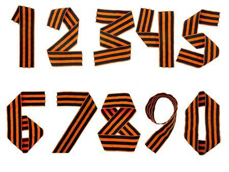 decimal: Decimal digits set made of Saint George ribbon isolated on white