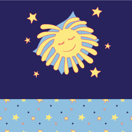 infantile: Sun sleeps on a pillow in the stars. Cozy wear top and bottom patterns