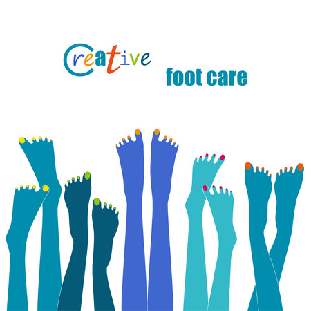 foot care: Blue legs with colorful nail polish pedicure or foot care concept