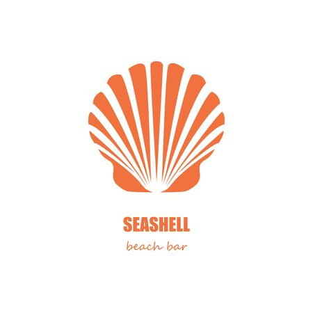 mollusc: Orange seashell silhouette beach bar company or restaurant design