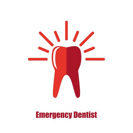 Emergency dentist urgent dental care  designconcept Vettoriali