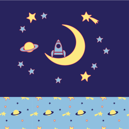 night suit: Rocket stands on moon, stars, planet and comet. Cozy wear top and bottom patterns