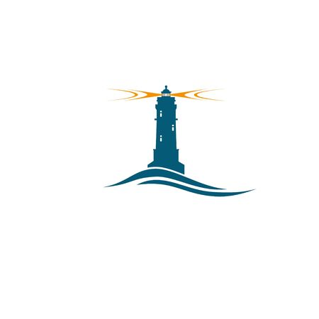 guiding light: Blue lighthouse with orange light safety travel concept